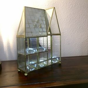 Accents - Vintage Curio Gold & Glass House Display Case